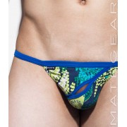 Mategear Ping Bae Abstract Diagonal Front Slit Xpression Mini G String Underwear Blue/Yellow 1720401