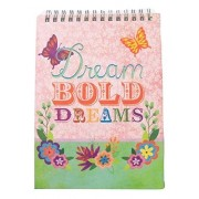 """Inspirational Hardcover Top Flipping Journal ~ Dream Bold Dreams (Multicolred Butterflies And Flowers On Pink And Green; 5.25"""" X 7.25""""; 80 Lined Sheets, 160 Pages)"""