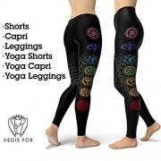 Aegis Fox Mallas Originales para Chakras, Pantalones de Yoga, chacra, Ropa de chacra, Ropa de meditación, chacra Negro Traje curativo, Leggings B-Capri, XS