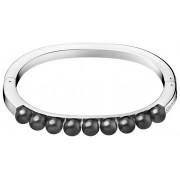 Calvin Klein Bratara din otel solid cu perle de circulatie negre KJAKMD04010 6,5 cm