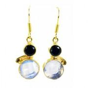 Riyo Black Onyx Fire Opal Cz Rhodium Plate Evening Wear Earring L 1.5in Gpemul-52001