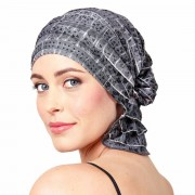 Chemo Beanies® - Headwear Covers for Hair Loss Kay (Grey Floral Ruffle)