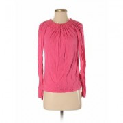 INC International Concepts Long Sleeve Top Pink Solid Crew Neck Tops - Used - Size Small Petite