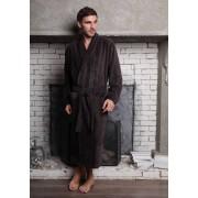 Five Wien Стильный мужской халат коричневого цвета с фактурными полосками Five Wien FW1426 Мокко