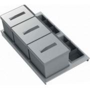tecnoinox T2 90 Bidoni Raccolta Differenziata Per Cassettoni 3 Contenitori Spazzatura 12 + 17 + 17 Litri Lunghezza 90 Cm Colore Grigio - T2