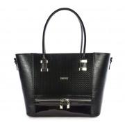 Közepes méretű fekete női rostbőr táska VIA 55