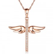 Pandantiv Borealy Roz Alb 14 K 0 08 Ct Natural Diamonds Angel Wing Cross