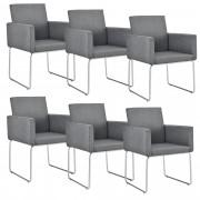 [en.casa]® Dizajnová stolička - 6 ks sada - 82,5 x 54 cm - tmavo sivá