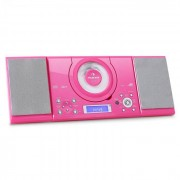 Auna MC-120 Microanlage Vertikalanlage MP3-CD-Player USB AUX Wandmontage pink