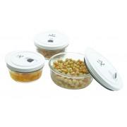 3 db-os hermetikusan zárható üveg ételtároló szett 880ml+600ml+390ml