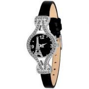 Wenlong Black Peris Tower LeatherBelt Diamound Designing Stylist looking Analog Watch For Women Girls