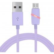 1m Circular Estilo Micro USB A USB 2.0 Cable De Sincronizacion De Datos Con LED Indicador De Luz, Para Samsung, HTC, Nokia, Huawei, Xiaomi (purpura)