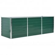 vidaXL Vaso/floreira de jardim em aço galvanizado 240x80x77 cm verde