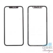 Geam Sticla iPhone XS Max Cu Rama Si Adeziv Sticker Negru