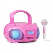 Auna Roadie Sing CD Radiocasetera Radio FM Espectáculo de luces Reproductor de CD Micrófono rosa
