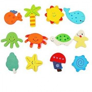 Futaba 12Pcs Cartoon Toy Shape Wooden Fridge Magnet For Kids