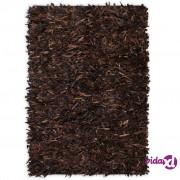 vidaXL Čupavi tepih od prave kože 120x170 cm smeđi