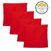 Play Platoon Weatherproof Duck Cloth Cornhole Bags - Set of 4 Red Bean Bags for Corn Hole Game - Made with Corn-Shaped Synthetic Corn