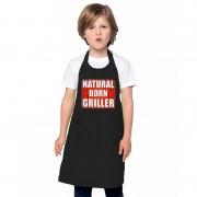Shoppartners Natural born griller barbecueschort/ keukenschort zwart kindere - Action products