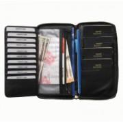 ABYS Rakshabandhan Gift-Premium Quality Leather Black Travel Organizer||Passport Wallet||Document Holder with Metallic Zip Closure(Black)