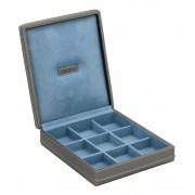 Astuccio porta gemelli 9 Buche in eco pelle Carbon Blu