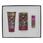 Christian Audigier Love & Luck Eau De Toilette Spray + Hair & Body Wash + Mini EDT Gift Set Men's Fragrance 465680