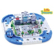 Little Treasures my first Police tracks play set toy for toddlers and kids - Building Block Track with Cars - Suitable for Girls and Boys 18 months and up