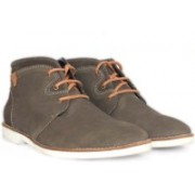 Alberto Calza Leather Suede Ankle Boot Boots For Men(Grey)