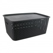 Cutie plastic cu capac pt. depozitare 16L-negru