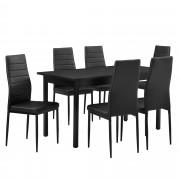 PremiumXL - [en.casa] Blagovaonski set - stol i 6 stolica (crna)