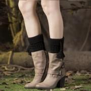 Pletené návleky do kozaček s bambulkami (černá barva) - V&V