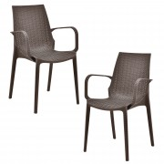 Комплект от 2 броя градински столове [casa.pro]®, 89 x 54,5 x 55 cm, Пластмаса, Кафяв