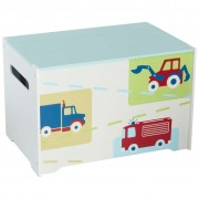 Worlds Apart Toy Box Trucks and Tractors 60x39x39 cm White WORL230009