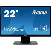 "Monitor IPS LED IIyama 21.5"" T2252MSC-B1, Full HD (1920 x 1080), VGA, HDMI, DisplayPort, Boxe, Touchscreen, 7 ms (Negru)"