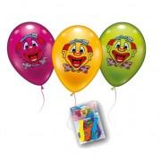 Geen Gekleurde ballonnen met clowntjes 6x