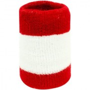 Neska Moda Unisex Pack Of 1 Red And White Striped Cotton Wrist Band WB45