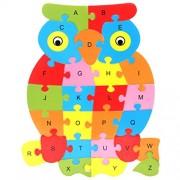 Magideal Set of Wooden Owl Alphabet Puzzle Brain Teaser Toy Kids Alphabets Color Educational Gift Multicolor