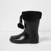 River Island Girls Black knit foldover pom pom wellies - Size 32 (EU)