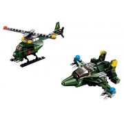Army Fighters 2 in 1 a Super Fast Fighter Jet and a Mission Helicopter Building Blocks 147pc set Compatible to Lego Parts - Great Gift for Children
