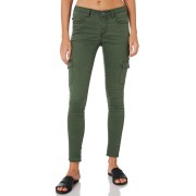 Rusty Spray On Womens Poly Cotton Stretch Mid Rise Cargo Pants Army