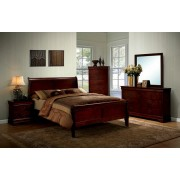 CM7866CH 5 pc Louis Phillipe III collection contemporary style cherry finish wood sleigh queen bedroom set