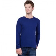 Aero Fashion Royal Blue Solid Cotton Round Neck Slim Fit Full Sleeve Men's T-Shirt