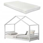 [en.casa]® Gyermekágy fenyőfa gyermekágy matraccal 206x98x142cm ház-design, fehér