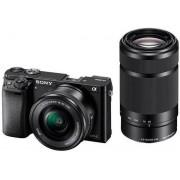 Aparat Foto Mirorrless Sony Alpha 6000, cu obiectiv 16-50mm + 55-210mm, 24.3 MP, Filmare Full HD, Zoom optic 3x (Negru)