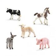 Schleich Animals Farm Babies Set - Donkey Foal, Lamb, Tinker Foal, Piglet, Holstein Calf