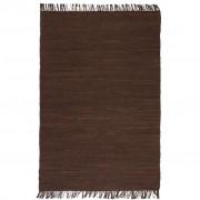 vidaXL Ръчно тъкан Chindi килим, 120x170 см, кафяв
