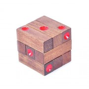Joyeee 3D Wooden Brain Teaser Puzzle #12 - Diamond Cube Interlocking Jigsaw Puzzles for Teens and Adults - Challenge Your Logical Thinking - Ideal for Gift and Decoration