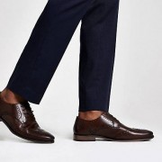 River Island Mens Dark Brown leather lace-up brogue shoes (Size 8)