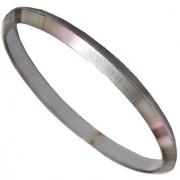 Men Style Jai Mataji 2/12 Inch Silver Stainless Steel Round Kada