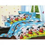 Choco Mickey Mouse Mont Double Bedsheet With 2 full Size Pillow Cover Pack of 1